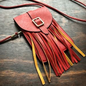 Leather Fringe Small Crossbody Bag